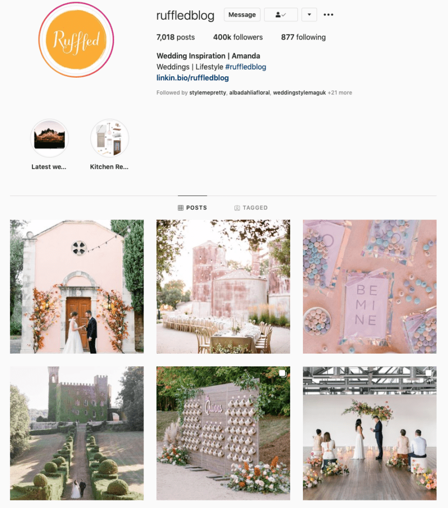 Instagram page of Ruffled Blog