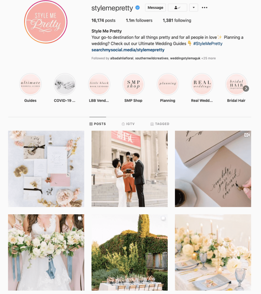 Instagram page of Style Me Pretty
