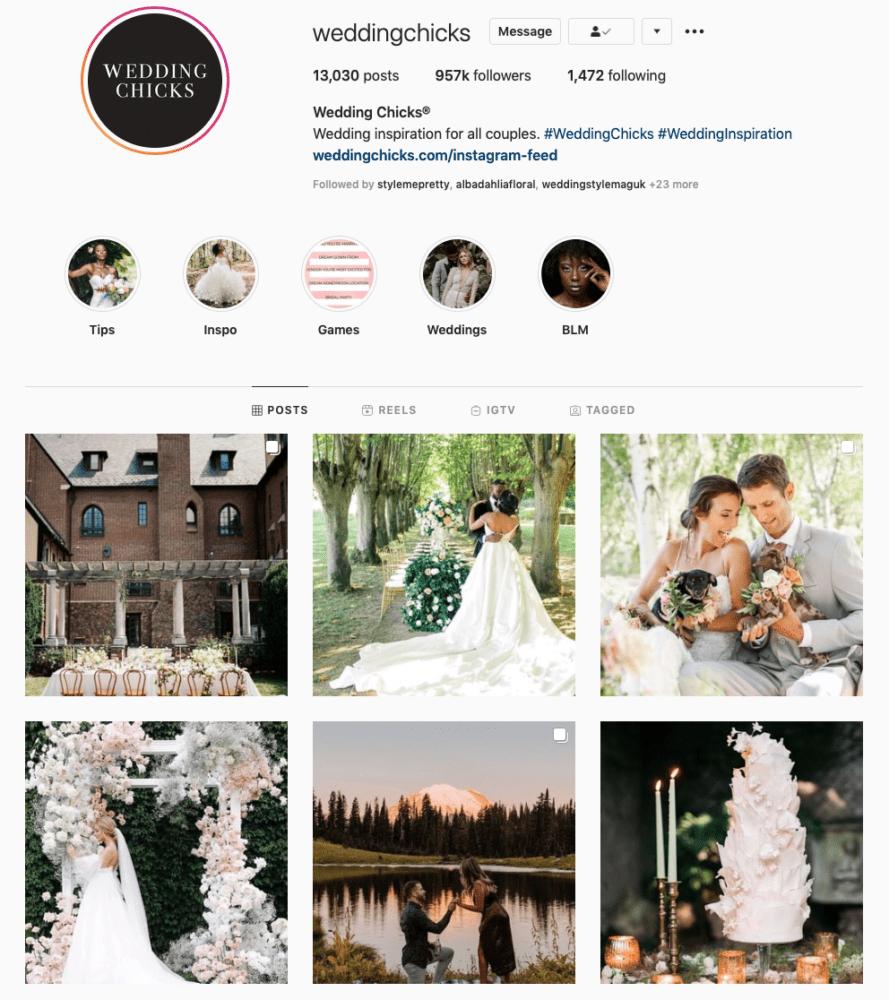 Instagram page of Wedding Chicks