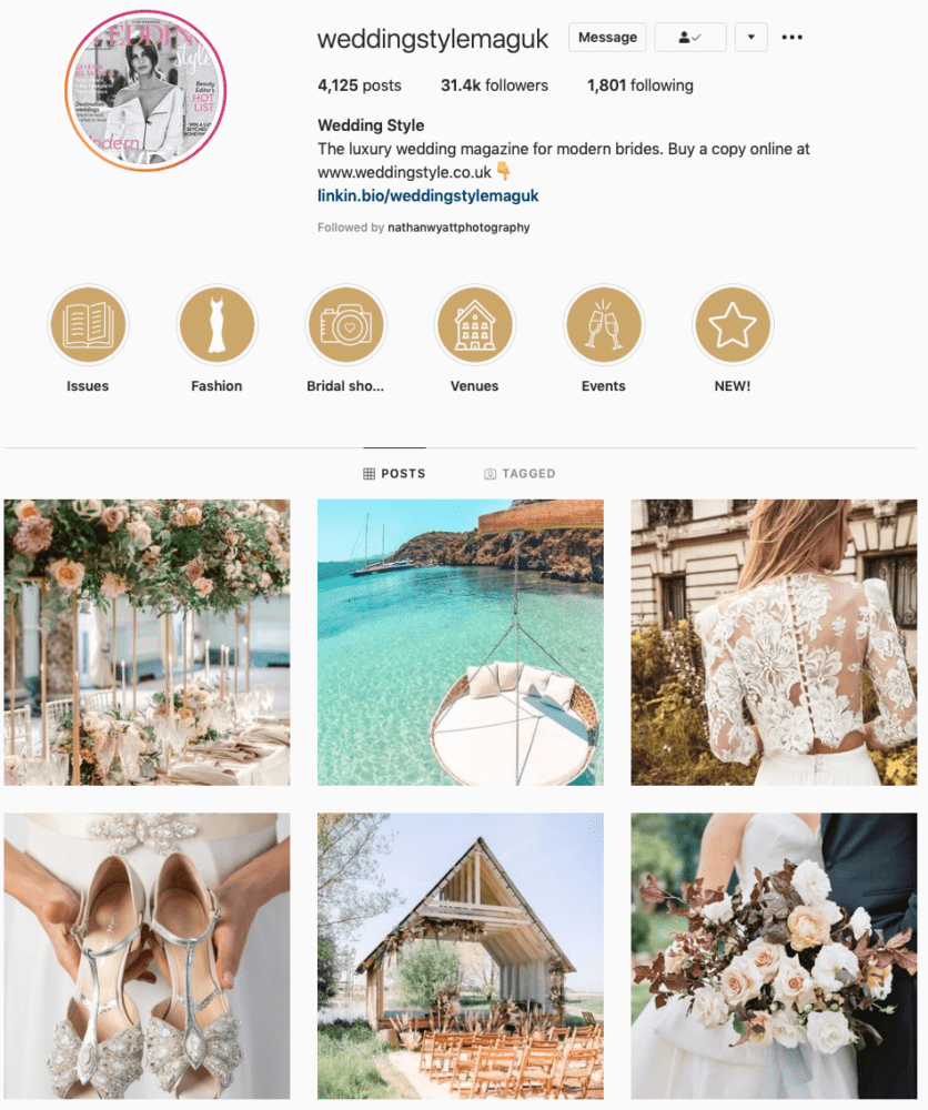 Instagram page of Wedding Style Mag UK