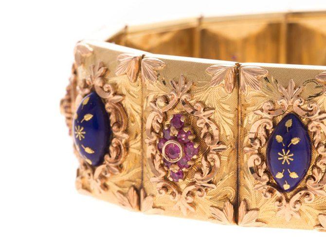 Italian 18K bracelet with rubies