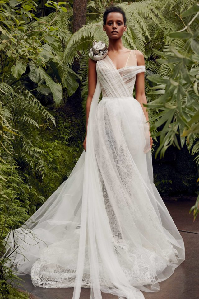 Ivory asymmetric tulle gown from Vera Wang's Spring 2020 collection