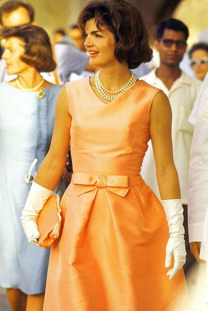 Jackie Onassis wearing Oscar de la Renta