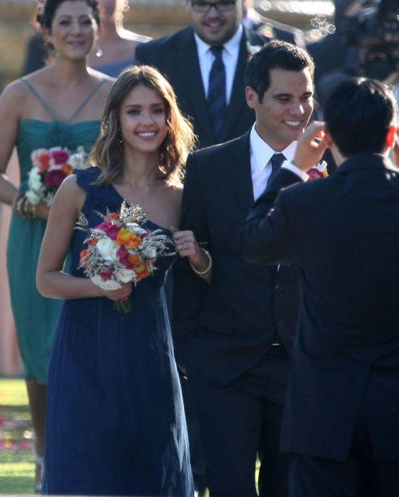 Jessica Alba in Amsale bridesmaid dress