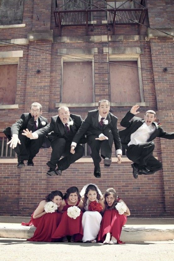 Jumping For Wedding Joy