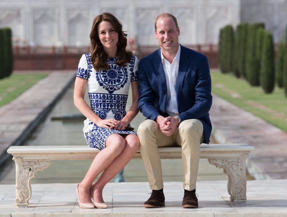 Kate Middleton wearing a Naeem Khan dress in front of the Taj Mahal