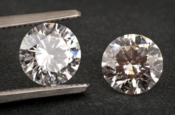 Lab-grown and natural diamond side by side