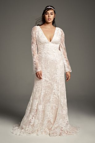 Lace bell wedding dress from White by Vera Wang collection