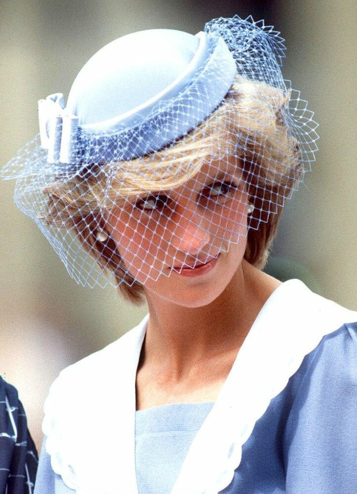 Lady Diana in a blue cage veil
