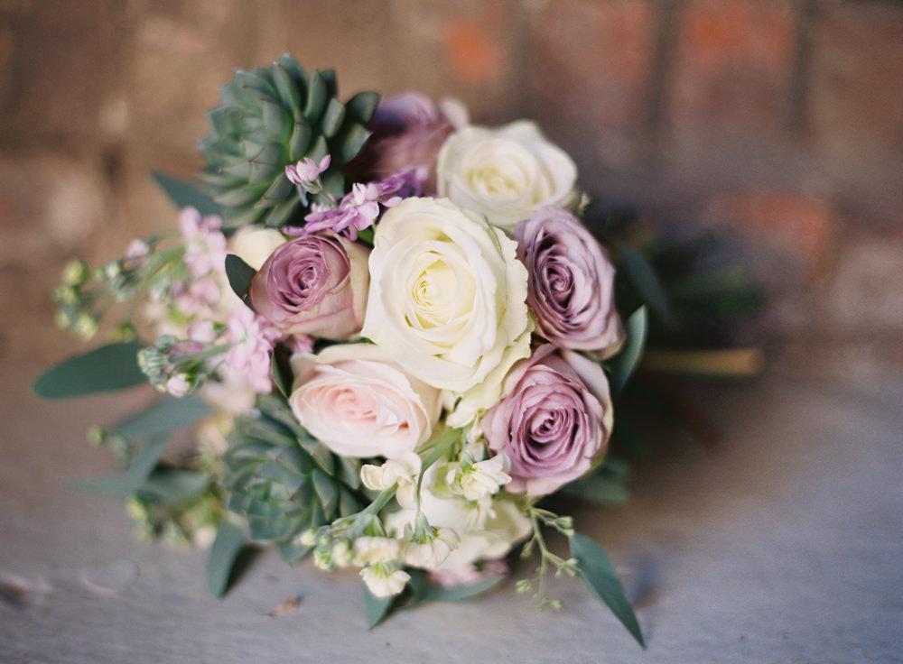 Lavender & ivory flower bouquet