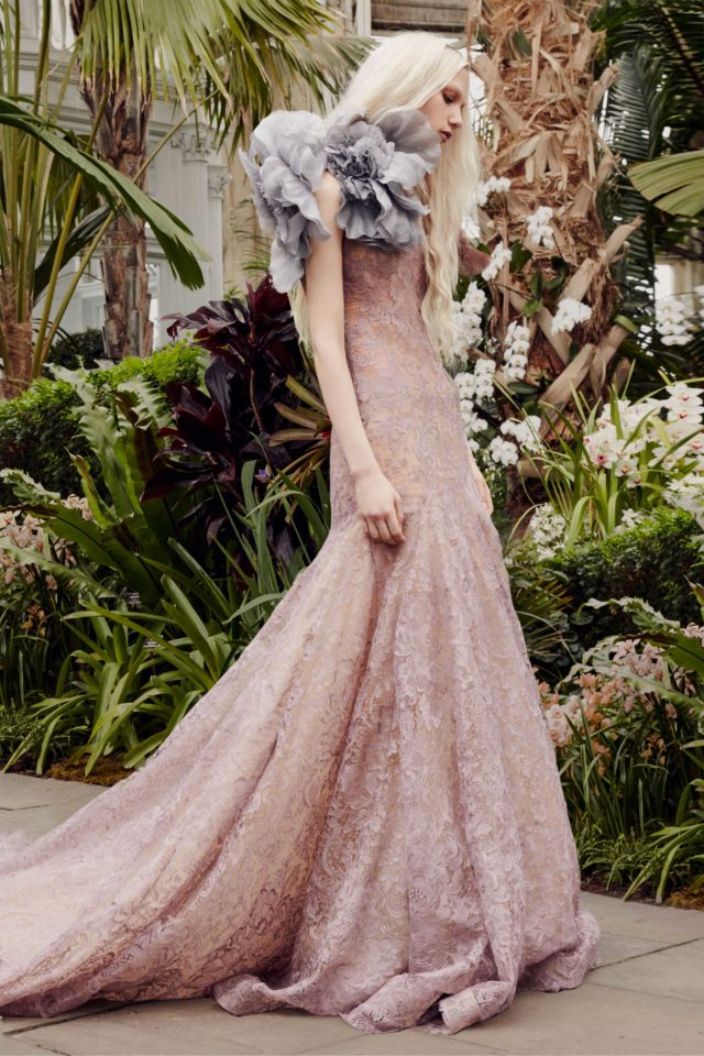 Lavender lace mermaid gown from Vera Wang's Spring 2020 collection
