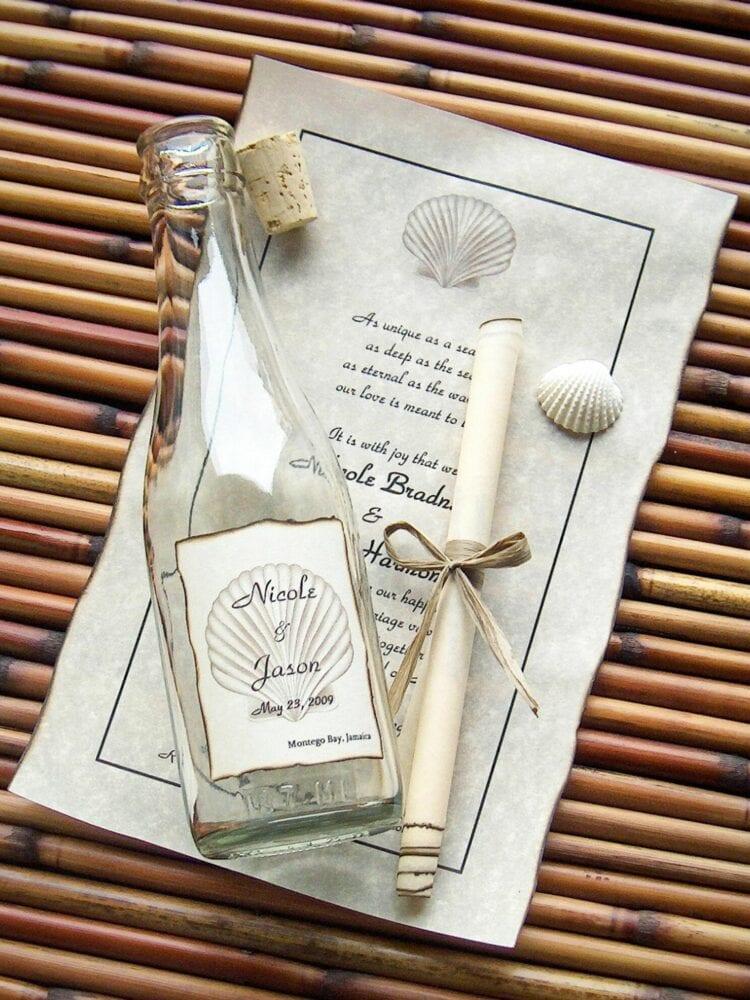 Message in a bottle wedding invitation