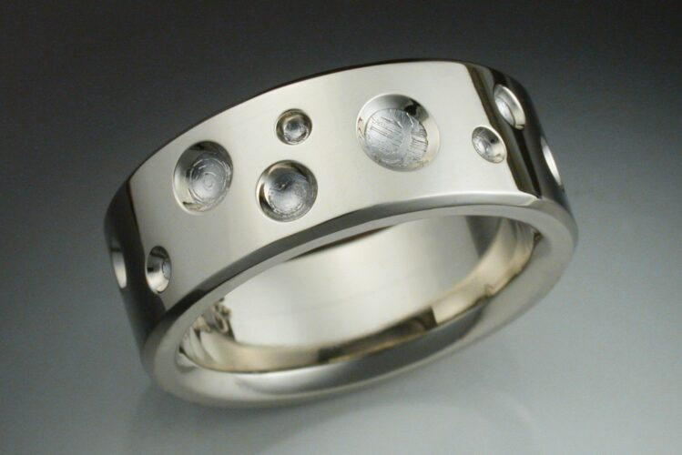 Custom White Gold Crater Band