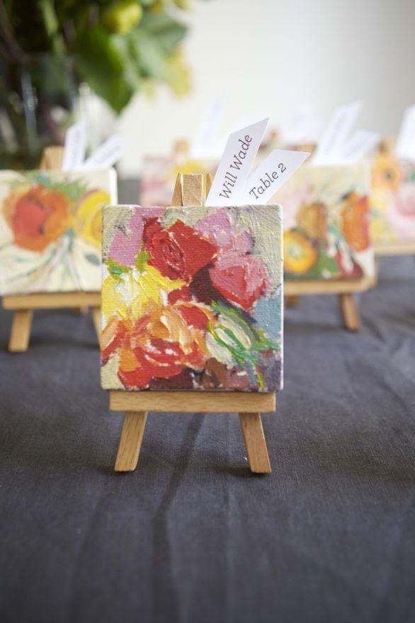 Mini canvas wedding favors
