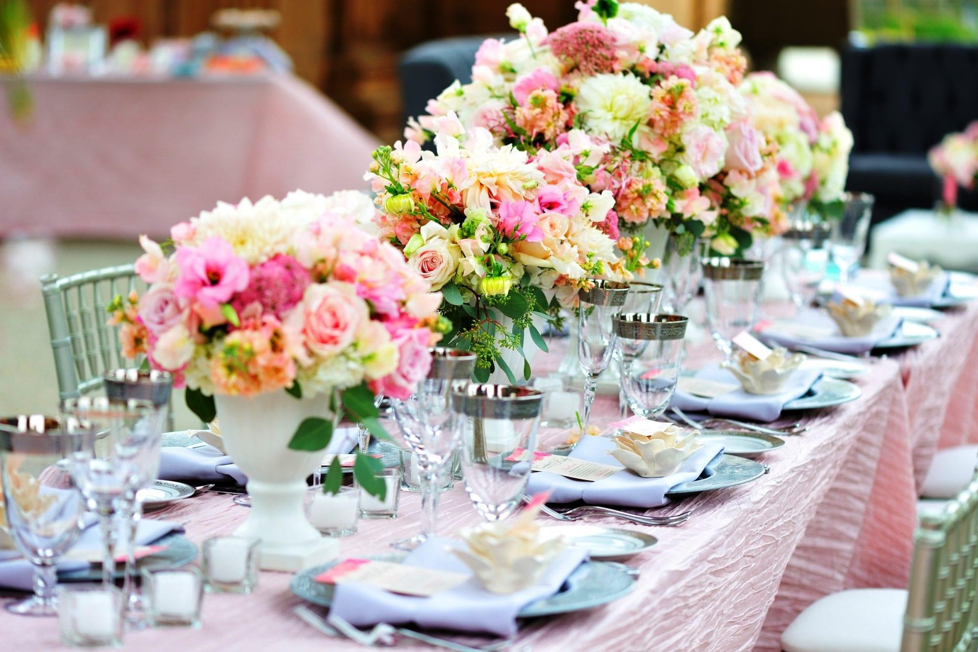 Multi-colored centerpiece florals