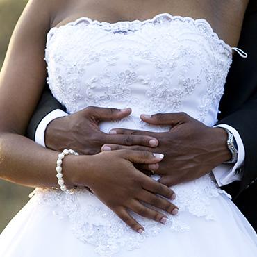 Bride showing off simple bracelet accessory