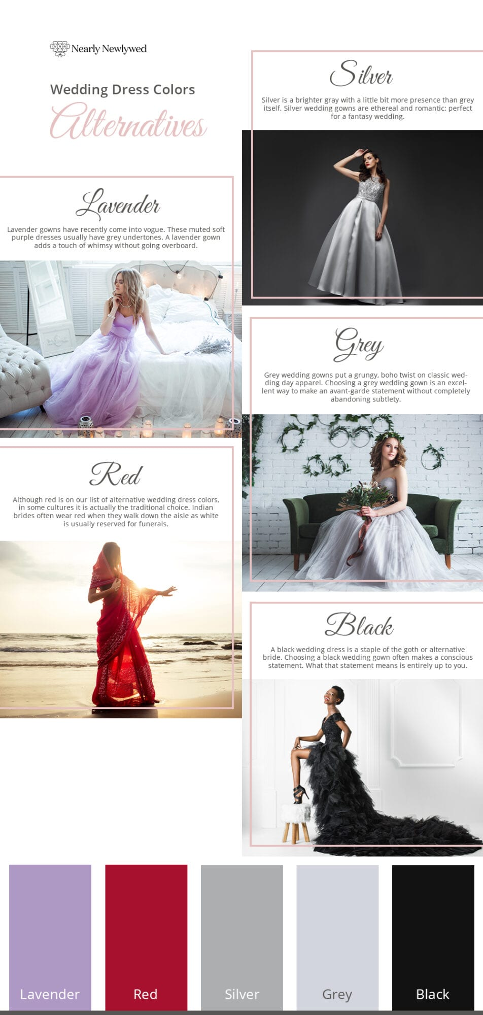 Alternative wedding dress color guide and palette