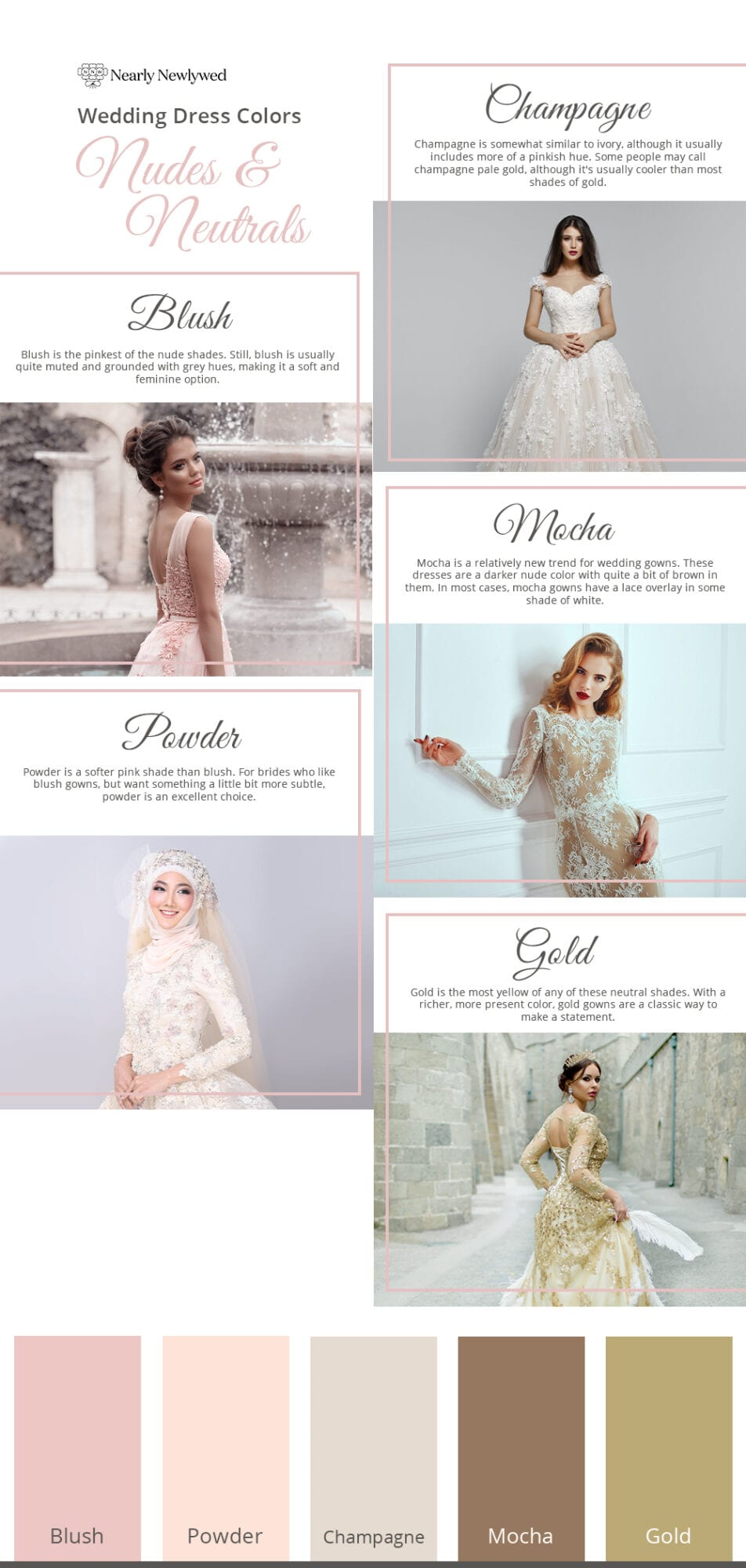 Nudes and Neutrals wedding dress color guide and palette