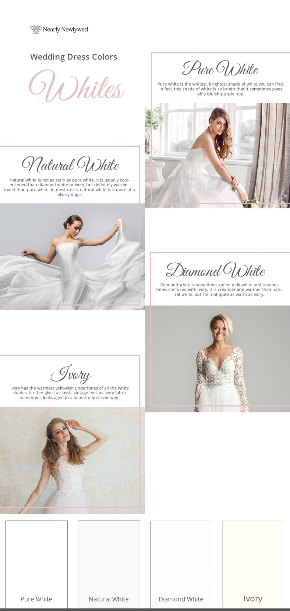 White wedding dress color guide and palette