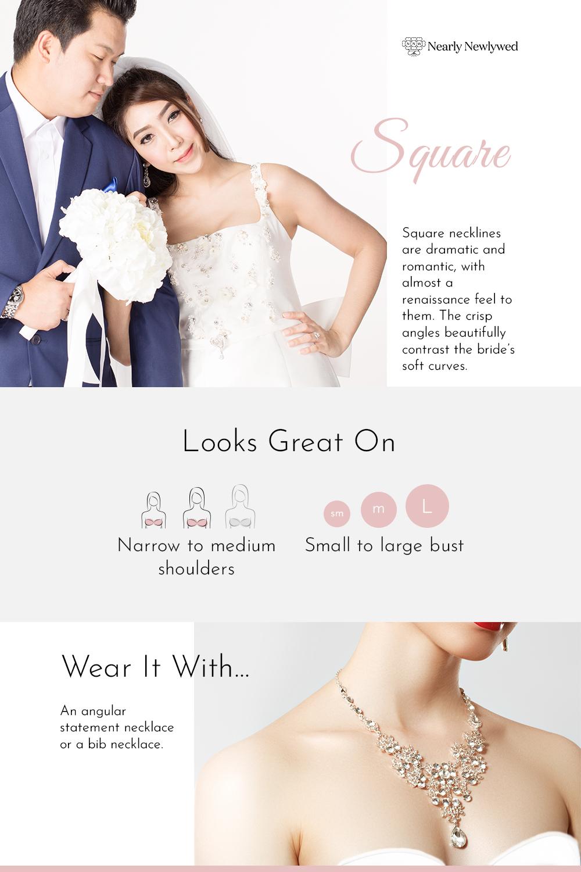 Square Wedding Dress Neckline Infographic