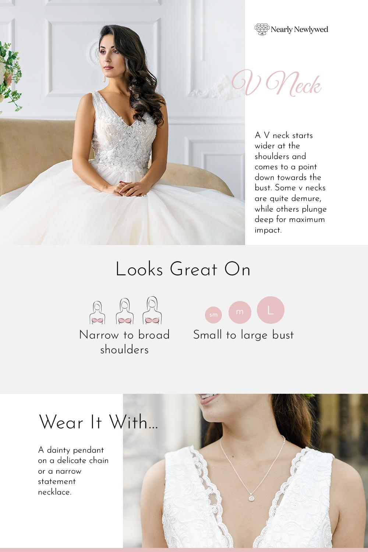 V Neck Wedding Dress Neckline Infographic