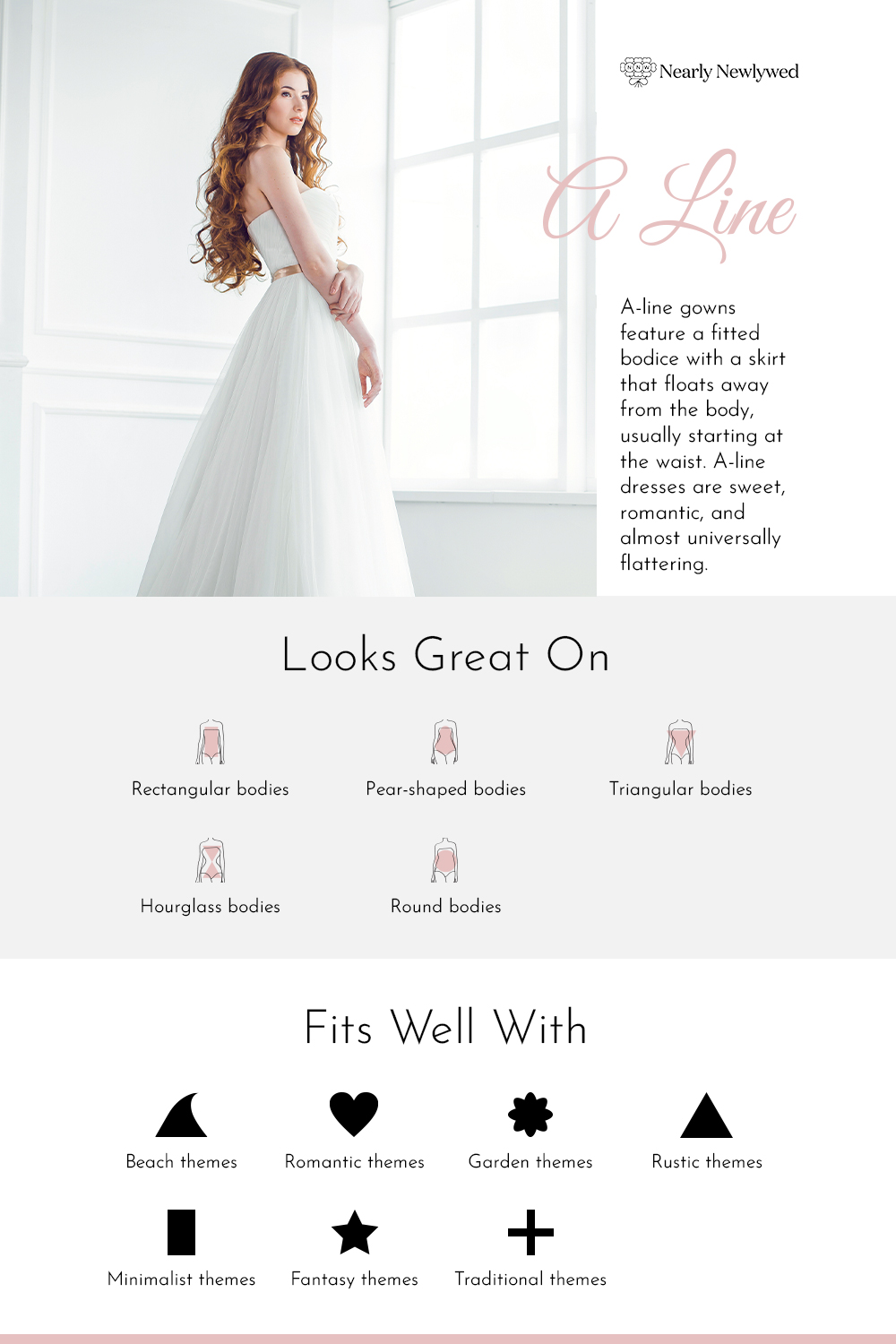 A-Line Wedding Dress Silhouette Infographic