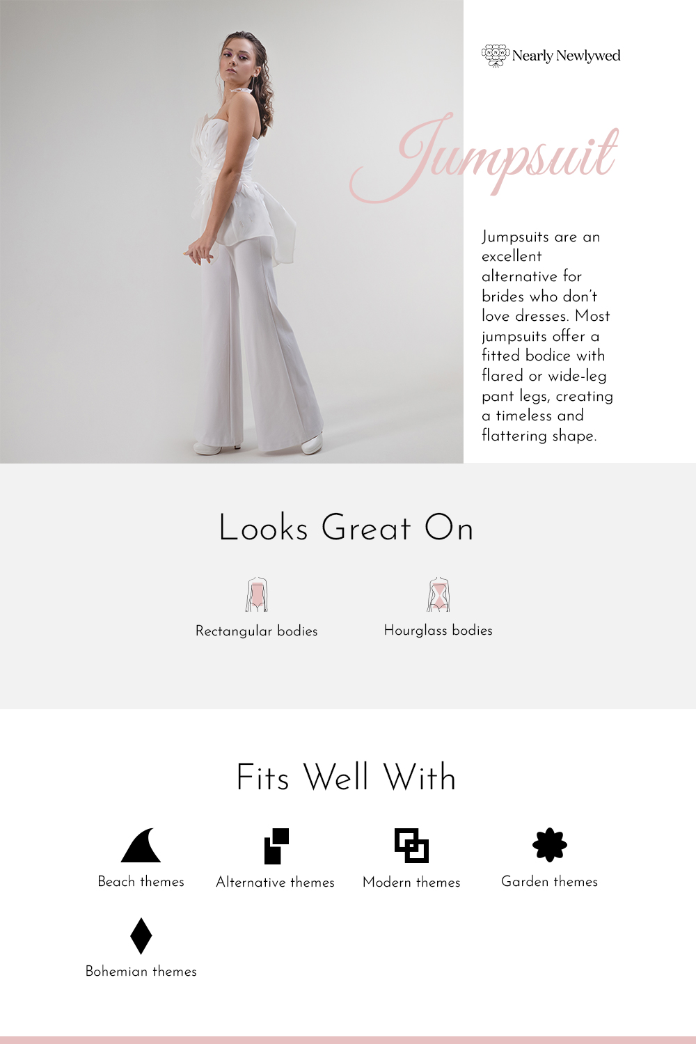 Jumpsuit Wedding Dress Silhouette Infographic