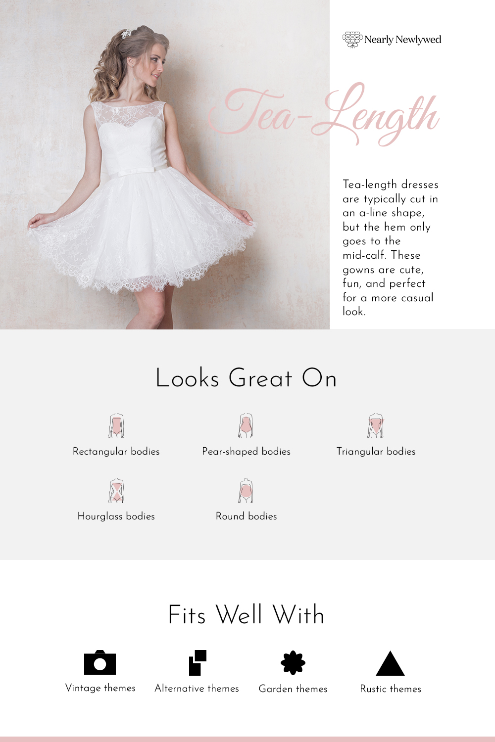 Tea Length Wedding Dress Silhouette Infographic
