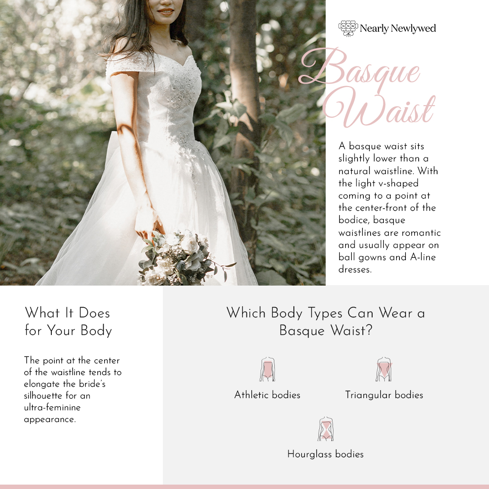 Bride wearing Basque in forest wedding