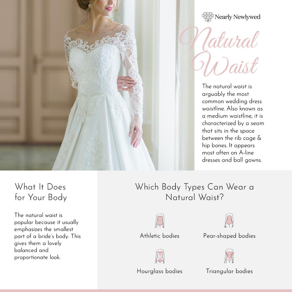 Bride wearing Natural waistline at wedding venue
