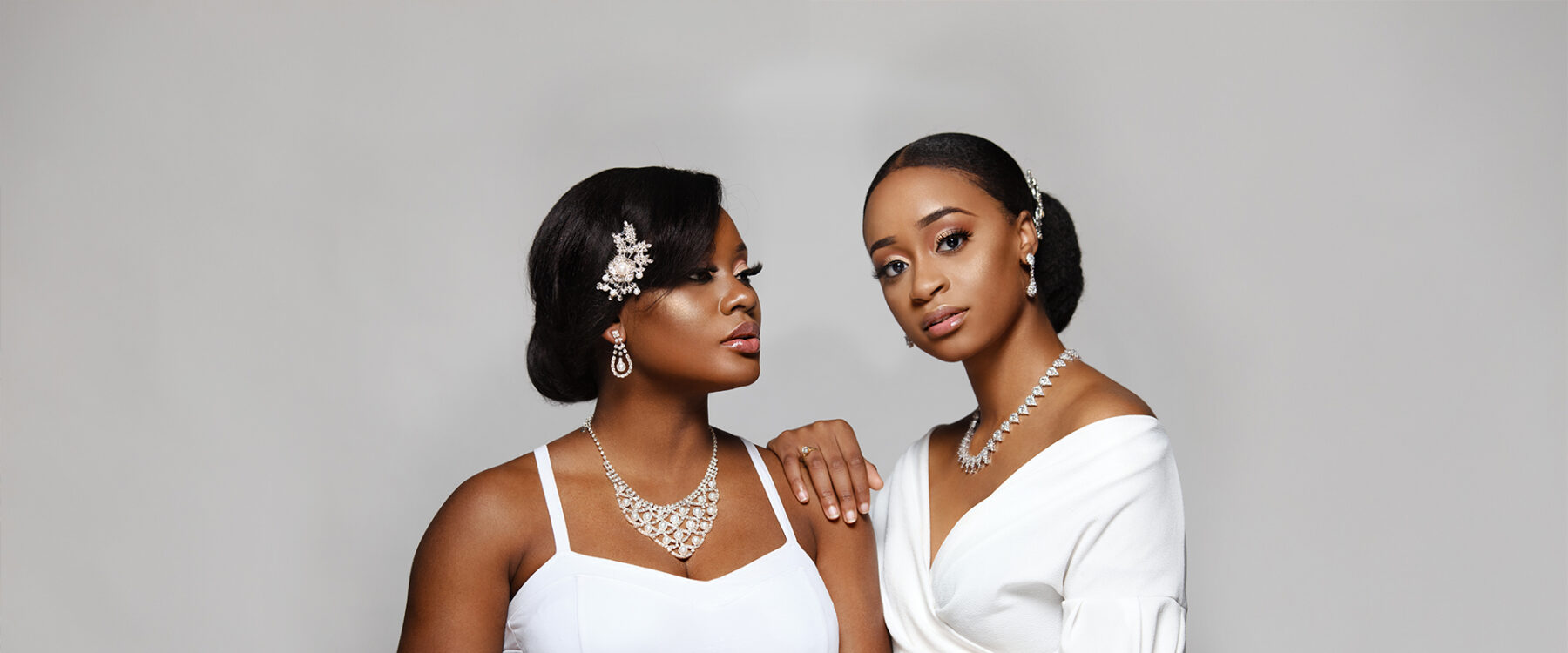 Brides sporting beautiful hair clips