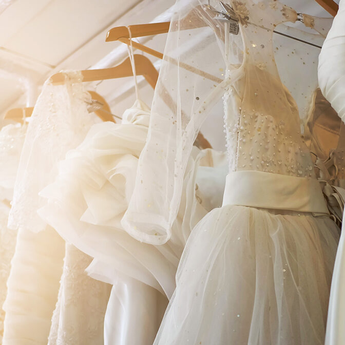 wedding dresses in closet