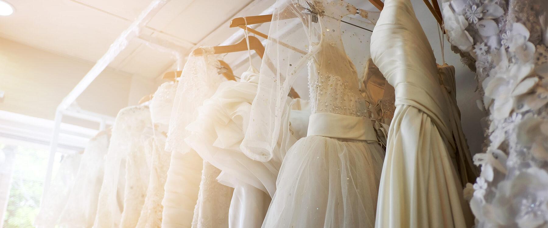 wedding dresses in closet