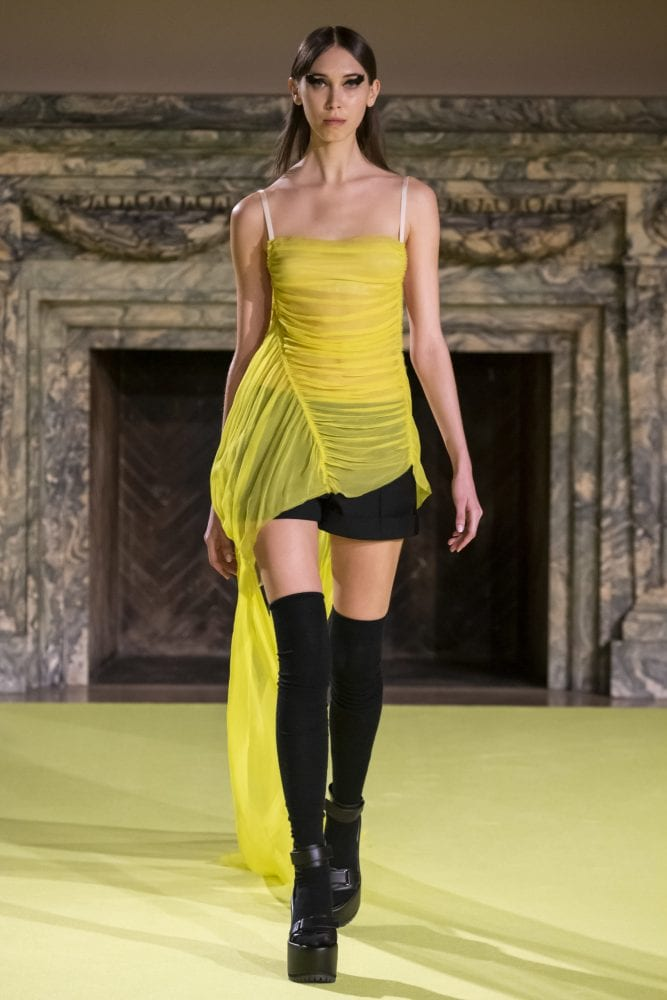 Neon yellow silk chiffon outfit from Vera Wang's Fall 2020 collection