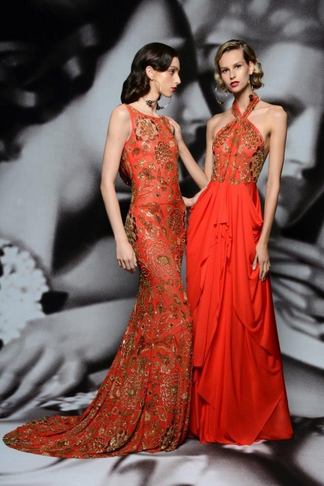 Orange & gold gowns from Naeem Khan's Resort 2020 Collection