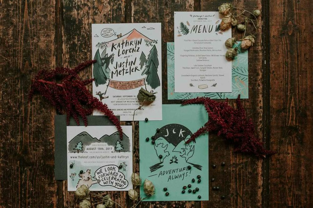 Outdoorsy wedding invitations