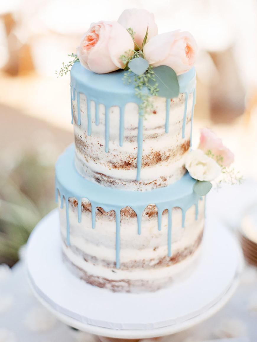 Pale blue drip cake