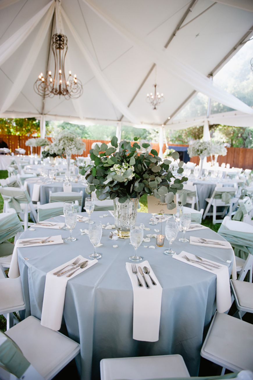 Pale blue linens at wedding reception