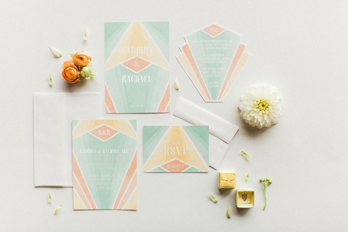 Pastel multi-colored wedding invitations