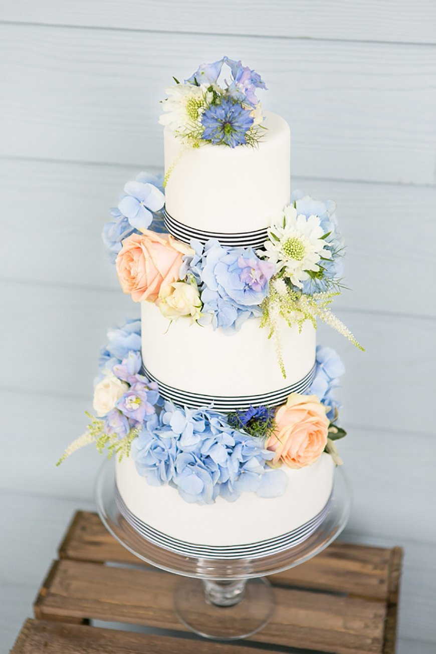 3 layer peach and blue wedding cake