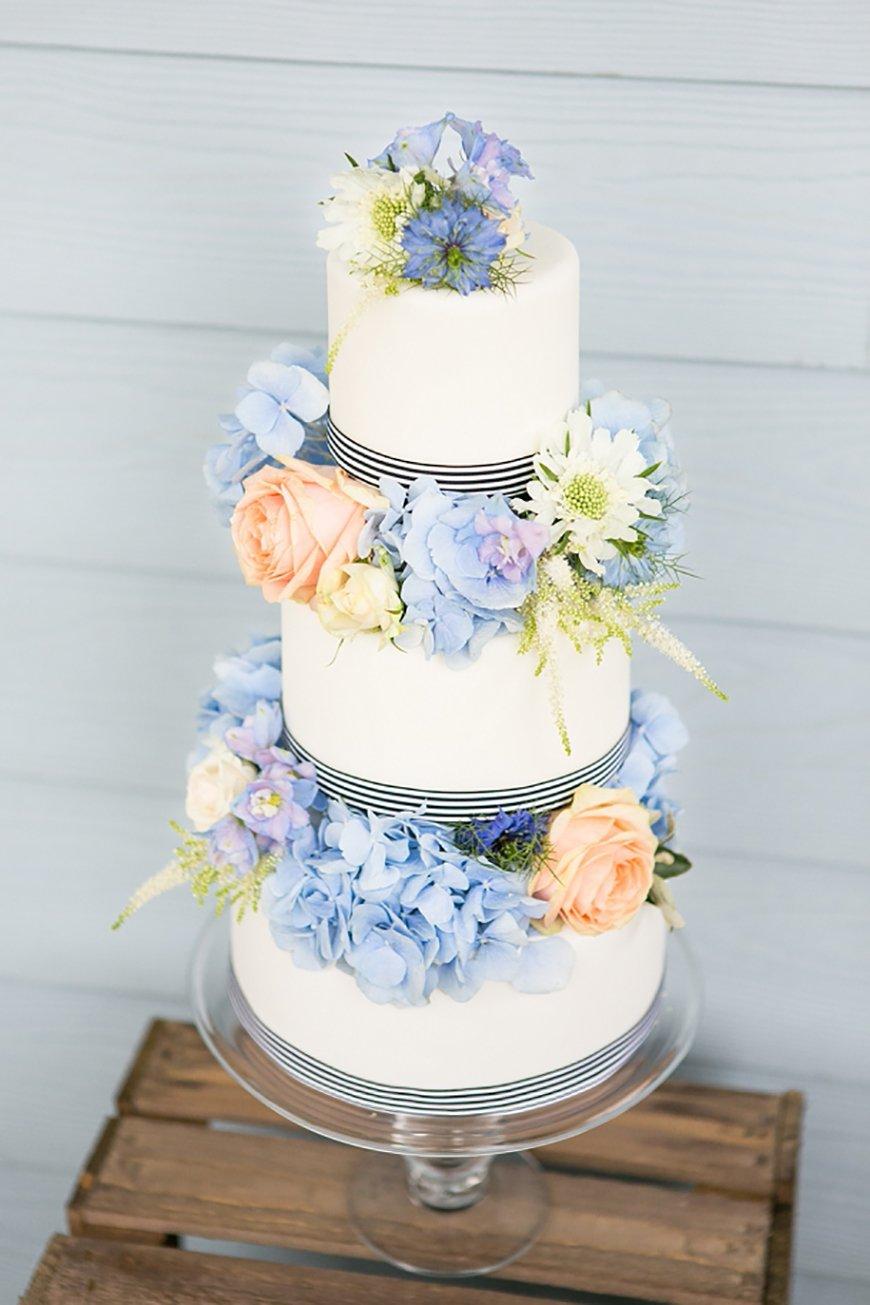 3 layer peach and blue wedding cake