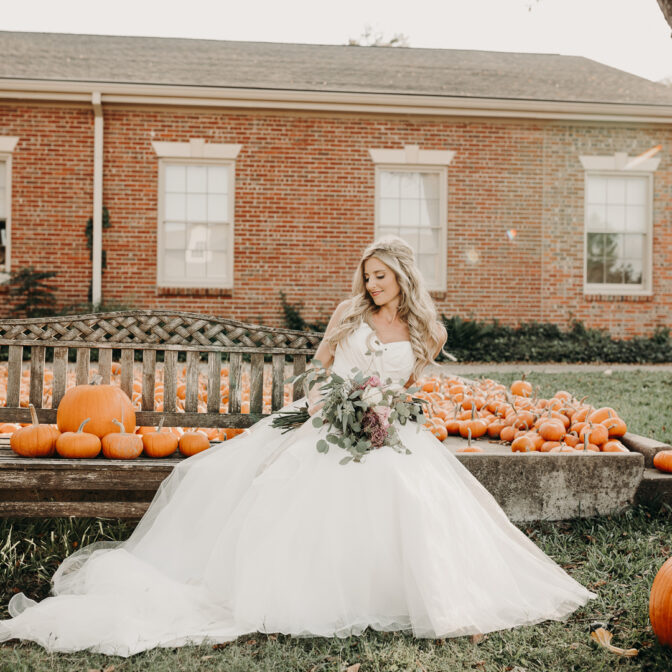 Pumpkin fall wedding photos