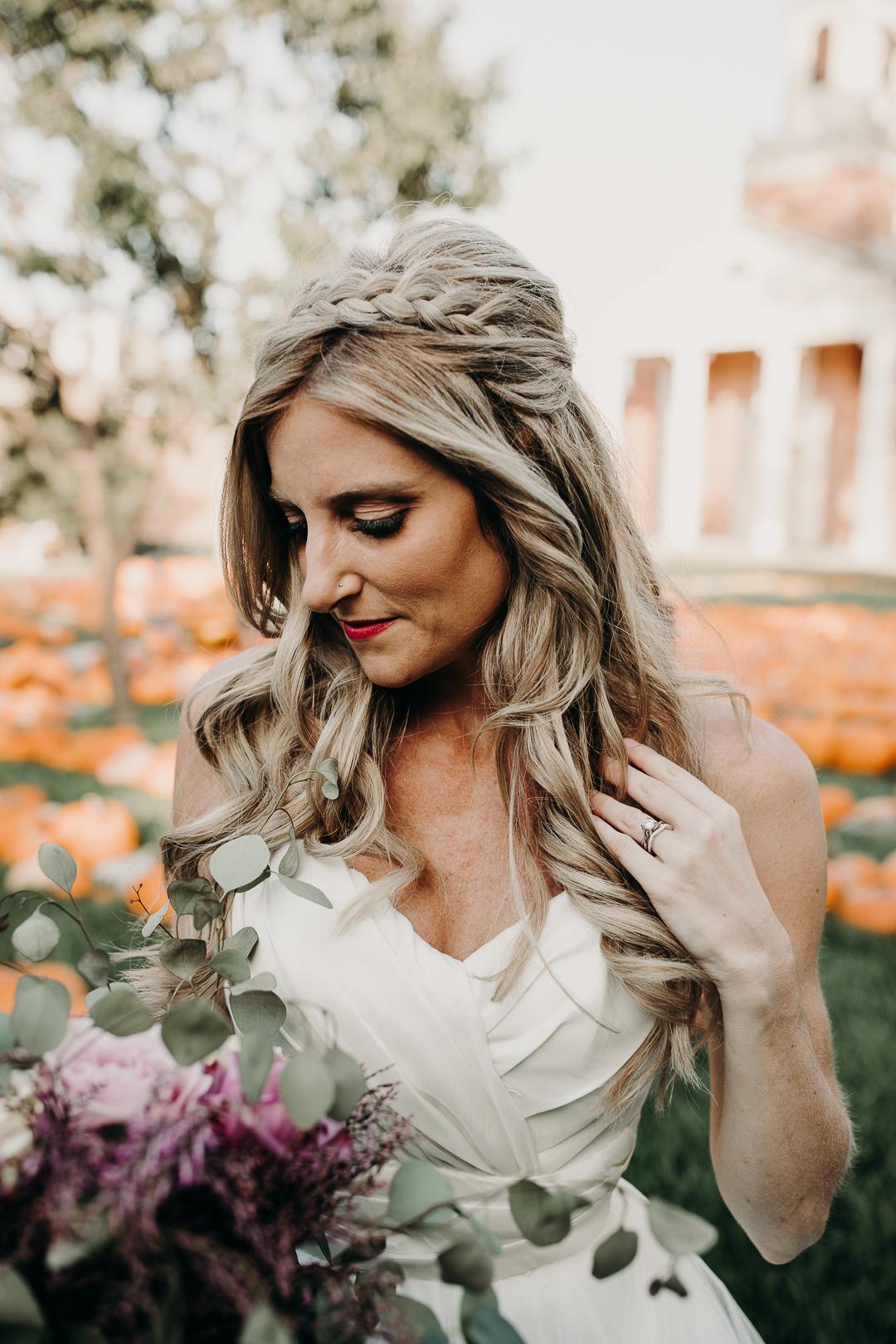 Fall wedding bridal headpiece portrait