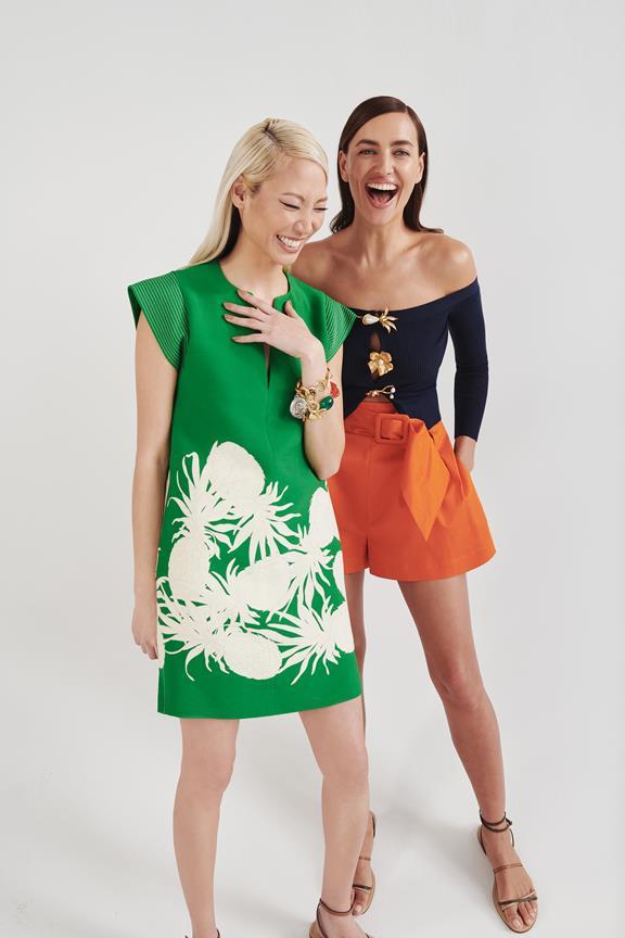 Pre-fall 2021 green dress from Oscar de la Renta