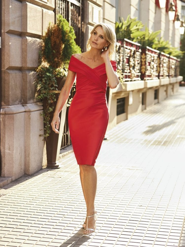 Red off-the-shoulder dress from the Pronovias cocktail collection