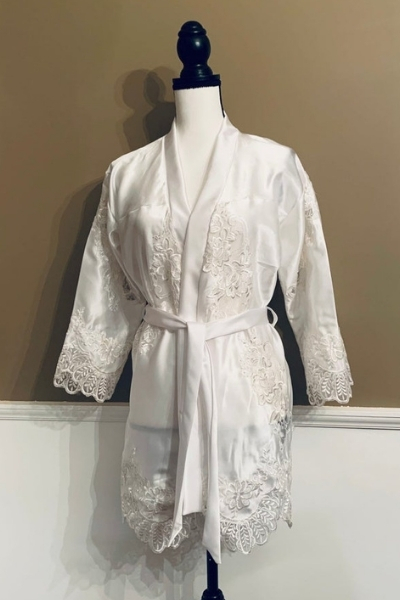 Robe made from a wedding dress