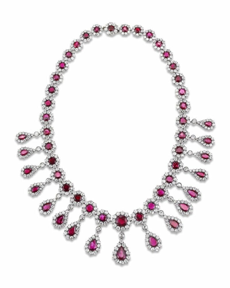 Ruby and diamond Victorian-period necklace