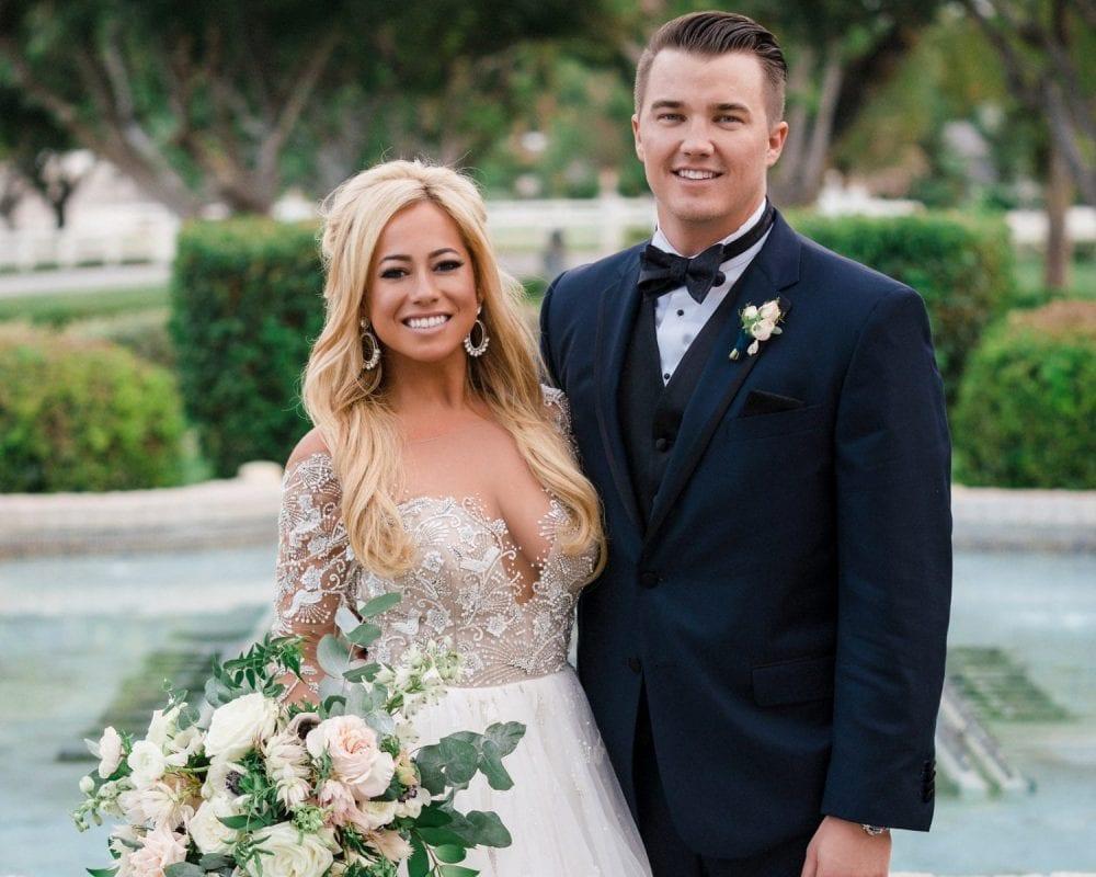Sabrina Bryan in her first Hayley Paige wedding dress