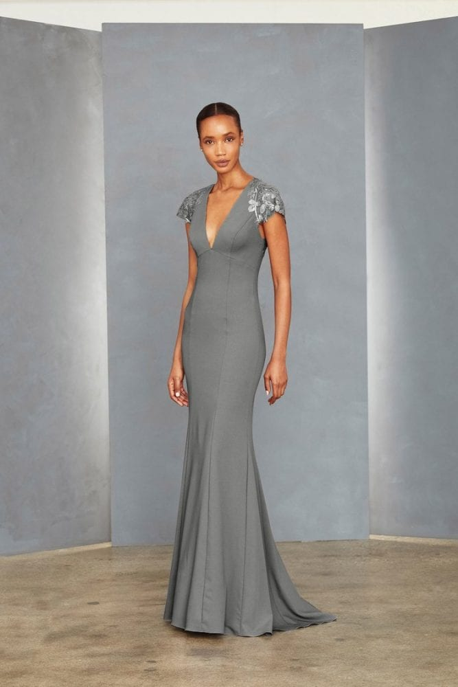 Sequin lace sleeve gown from Amsale's evening collection