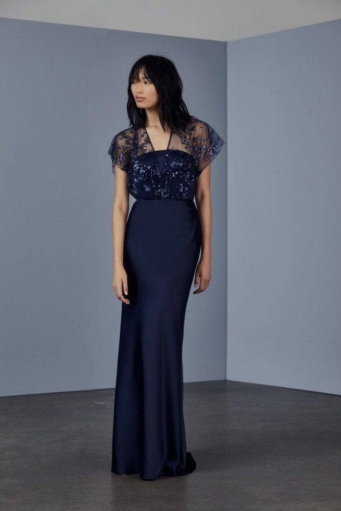 Sequined embroidered satin gown from Amsale's evening collection